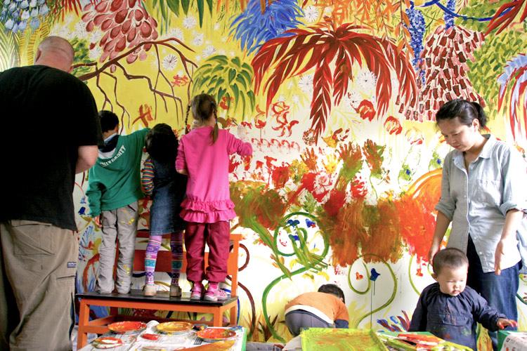 Painting kids library mural jason pym illustration blog for Children s mural artist